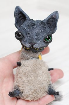 200$ + shipping, Moon Cat made by chercheto, art doll ooak