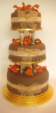 chocolate brown and burnt orange wedding cakes wedding cake on fall wedding cakes brown 12688