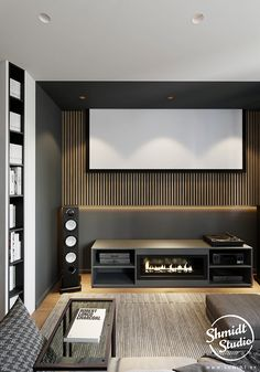 Living Room Home Theater, Living Room Theaters, Tv Wall Design, Tv Unit Design, Kitchen Room Design, Interior Design Kitchen, Modern Tv Wall, Two Bedroom Apartments, Cinema Room