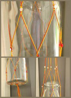 Hanging basket knopen in textielmuseum Hanging Baskets, Plant Hanger, Diy, Education, Home Decor, Paper, Craft Work, Fall Hanging Baskets, Bricolage