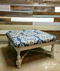 blue roof cabin: Custom Projects and a Business Update Large Coffee Tables, Diy Coffee Table, Ottoman Inspiration, Refurbished Coffee Tables, Painted Furniture, Diy Furniture, Blue Roof, Wood Pallets, Pallet Wood