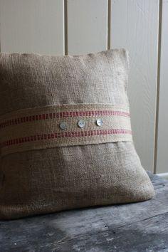 INSPIRATION: burlap pillow covers