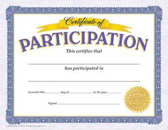 Certificate of Participation. Reward your students for their special achievements!
