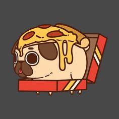 "pugliepug: ""One of the classic designs, with a bit more gooey cheese ; Cute Kawaii Drawings, Kawaii Doodles, Cute Doodles, Cute Animal Drawings, Kawaii Art, Pug Wallpaper, Kawaii Wallpaper, Pug Cartoon, Funny Dogs"