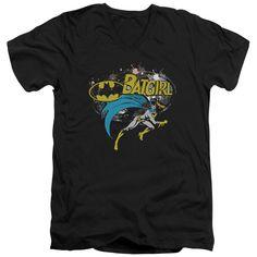 BATMAN/BATGIRL HALFTONE - S/S ADULT V-NECK - BLACK -