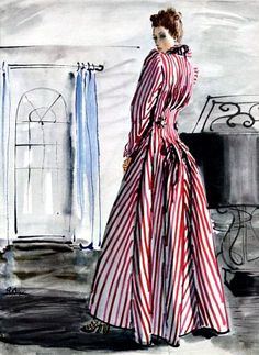 Hattie Carnegie evening gown illustrated by René Bouët-Wil… | Flickr