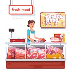 Fresh meat stand in a supermarket. Sales clerk woman worker slicing meat. Modern flat style realistic vector illustration isolated