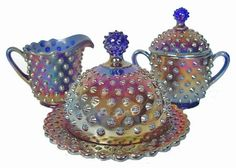 """a place to show off """"carnival Glass"""". I am huuuge fan of vintage dishes and barware"""