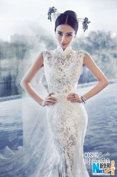 Angelababy wedding qipao with Western influences