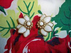 Vintage Kramer Milk Glass Pearl Half Floral Earrings by BlackRain4, $34.99