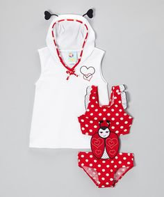 This Red Prettiest Ladybug Monokini & Coverup - Infant, Toddler & Girls by Baby Buns is perfect! #zulilyfinds