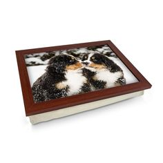 Bernese Mountain Puppies in the Snow Lap Tray - Personalised Gift Personalised Gifts Unique, Unique Gifts, Great Gifts, Bernese Mountain Puppy, Lap Tray, Laptop Desk, Breakfast In Bed, Design Your Own, Wooden Frames
