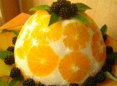 """Торт-желе без выпекания """"Апельсины в йогурте"""""""