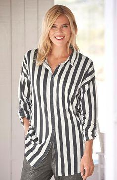 De lækreste Cellbes Lang skjorte Stribet Cellbes Bluser & skjorter til Damer i behageligt materiale