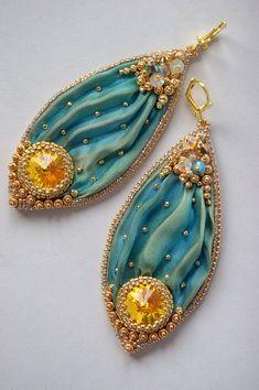 Beaded Shibori Earrings with Swarovski - Sea Green Mermaid