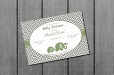 Elephant Baby Shower Invitation Card Gender  Neutral by NorthernDesigns, $9.00