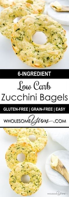Zucchini Bagels (Low Carb Gluten-free) - These chewy zucchini bagels are low carb gluten-free nut-free and made with only six ingredients. 10 ingredients or less. Low Carb Bagels, Gluten Free Bagels, Low Carb Bread, Low Carb Diet, Gluten Free Recipes, Low Carb Recipes, Vegetarian Recipes, Cooking Recipes, Healthy Recipes