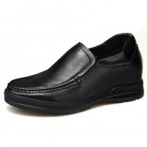Black soft leather / outsole business casual boat shoes 6.5cm / 2.56inch height increasing loafers
