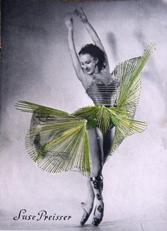Berlin based mixed media artist Jose Romussi embellishes vintage photographs of ballet dancers with colorful embroidery.