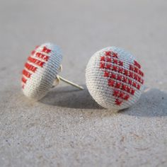 Heart Earrings. Cross Stitched Heart Studs. by SHIRLYROV on Etsy, $40.00