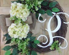 Yellow hydrangea - spring Wreath - Monogram wreath - summer wreath - easter wreath  - Hydrangea Wreath - mothers day