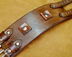 Leather cuff Bracelet American Western by MataraCustomLeather