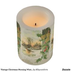 Vintage Christmas Morning Winter Scenery Flameless Candle