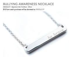 Our #BeBrave Bravelets bar necklace is now ON SALE! Available in silver & gold! Get 10% off with code BAR10 https://www.bravelets.com/bravepage/free2luv  Give a gift that gives back! #Free2Luv