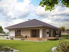 Projekt domu MT Ariel 3 paliwo stałe CE - DOM - gotowy koszt budowy My House Plans, Modern House Plans, Small House Plans, Modern House Design, Small Country Homes, Tiny House Village, Modern Bungalow House, Spanish House, Dream Home Design