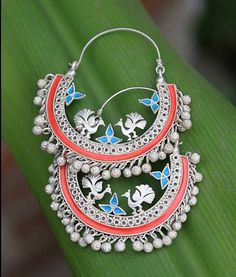 Red & blue inlay #earrings #india #ethnic