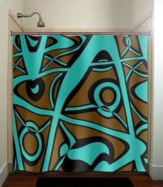 Abstract Turquoise Brown Modern Shower Curtain Bathroom Decor Fabric Kids  Bath Window Curtains Panels Valance Bathmat