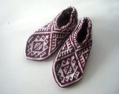 knit socks knitted Mens slippers socks maroon white cream, Traditional Turkish Socks anatolia Slippers Gift ideas For men, mens home shoes