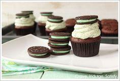 Mint Oreo Cupcakes / half baked