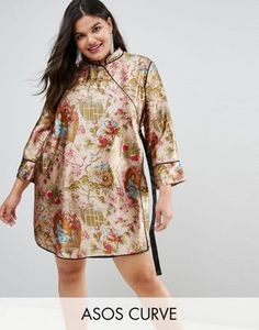 270c325baf4b ASOS CURVE Chinoiserie Mini Wrap Dress with Tipping Plus Size Womens  Clothing
