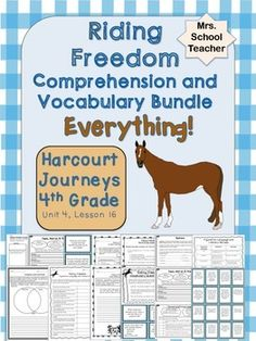 "Riding Freedom: Huge bundle of high quality printable activities to supplement the 4th grade Harcourt Journeys story ""Riding Freedom"" Unit 4, Lesson 16. These activities are not a one size fits all. They were individually designed around the Riding Freedom story in Journeys."