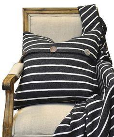 Charcoal Gray Dillan Stripe Throw Pillow