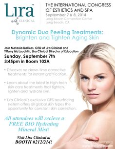 Join us for our class this Sunday Sept. 7th at the ICES Long Beach Show! Dynamic Duo Peeling Treatment, Brightening & Tightening Aging Skin!