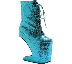 Bettie Page Chablis - Turquoise Glitter with FREE Shipping & Returns. The Chablis is a 8  platform and the heel 12  glitter lace up boot.