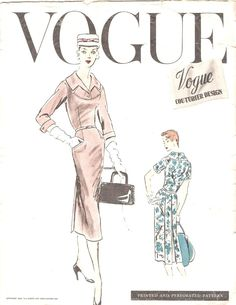 Rare 1950's Vogue Couturier Design, 903, Classy Fitted Dress, Box Pleats, 3/4 Sleeves, Wide Collar, Size 12, Bust 30, Vintage Sewing Pattern by InsideOutandOver on Etsy https://www.etsy.com/listing/237079828/rare-1950s-vogue-couturier-design-903