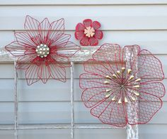 3D Metal Hanging Flowers - Red Chicken Wire Embellished - Indoor Outdoor Fence Wall Pool Area - Metal Yard Art - Cottage Chic - Housewarming by ChicFabulousFlowers on Etsy