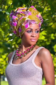 Cropped-Capri-Trousers,-Gold-Vest-Top-&-Pink-Floral-Gele--6 , black girls , fashion, floral shoes, nigerian fashion, african head wrap