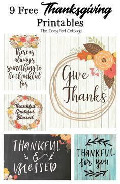 9 Free Thanksgiving Printables