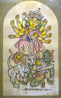 'Durga - Amit Sarkar - Water Colour - x Durga Maa Paintings, Durga Painting, Indian Art Paintings, Canvas Paintings, Abstract Paintings, Landscape Paintings, Madhubani Art, Madhubani Painting, Bengali Art