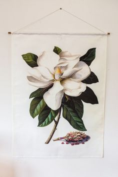 Botanical Print wall art of a Magnolia Grandiflora. Magnolia fabric wall art, Vintage botanical poster, fabric.  PRE- ORDER NOW! These will be ready to post EARLY FEBRUARY 2017 This high quality linen fabric wall hanging looks great on any wall in your house, but imagine it in a bathroom- with a lovely wooden floor and white walls? Beautiful in a CHILDRENS room or nursery too!   If you love this flower you may also like this one: https://www.etsy.com/au/listing/40055...