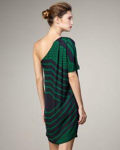 Stella McCartney Pleated One-Shoulder Silk Dress Size I 44 UK 12 US 10 LADIES