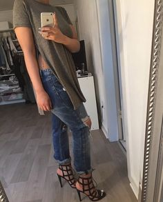Spring Outfit - Loose tee, boyfriend jeans, caged heels