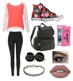 """School"" by juneisbest ❤ liked on Polyvore featuring Sandro, Topshop, Converse, Le Donne, Kate Spade, Lime Crime and Jessicasnewsets"