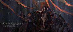 Anime Girls Armor Black Hair Blade Demon Girl Demons Fantasy Art Horns Long Hair Orange Eyes Pixiv Fantasia Sitting Text Thrones Warriors Women Wallpaper