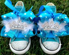 ELSA FEATHER SHOES - Elsa and Ana - Frozen Party - Elsa Costume - Frozen dress - Frozen Birthday - Crystals - Bling Converse - Toddler/youth