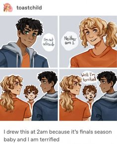 <<the poor illustrator<< poor Grover watching this two oblivious fools Percy Jackson Fan Art, Percy Jackson Memes, Percy Jackson Books, Percy Jackson Fandom, Percabeth, Solangelo, Leo Valdez, Magnus Chase, Rick Riordan Series
